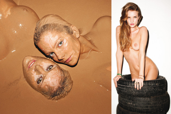 pirelli Calendar 2010 Catherine McNeil, Eniko Mihalik & Rosie Huntington Whiteley, nude, models in mud fashion