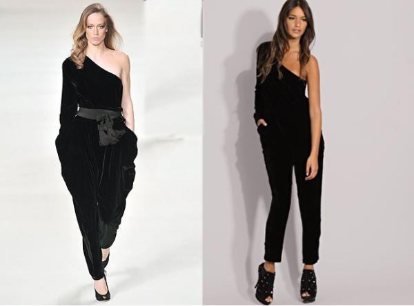 5e8903fb8e Recession fashion  Chloe v. ASOS one shoulder velvet jumpsuit