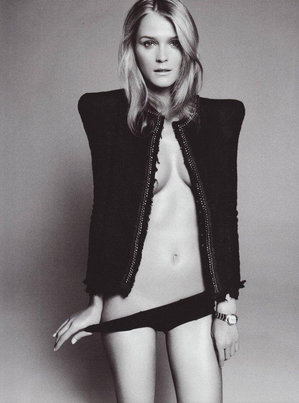 Model Carmen Kass nude in Balmain jacket