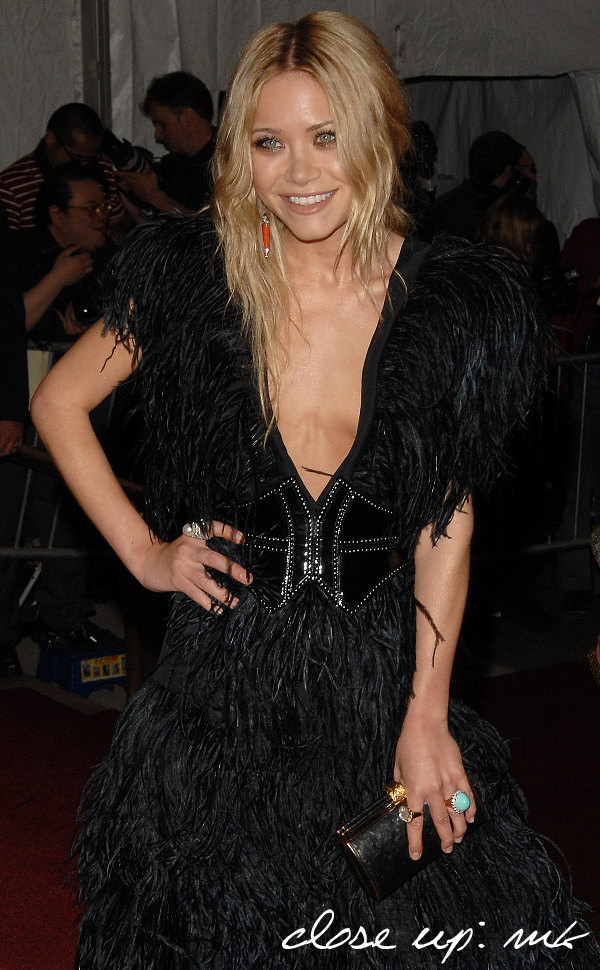 Mary Kate Olsen feather dress pictures