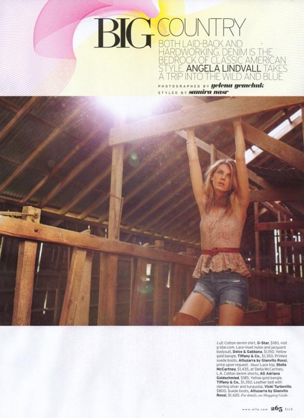 Angela Lindvall by Yelena Yemchuk Elle US May 2010