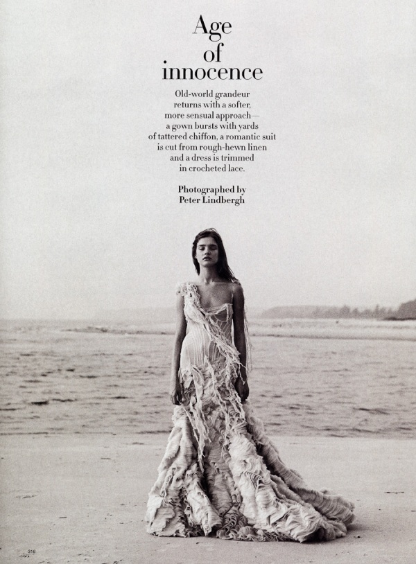 Natalia V in Alexander McQueen Dress age of innocence peter lindbergh