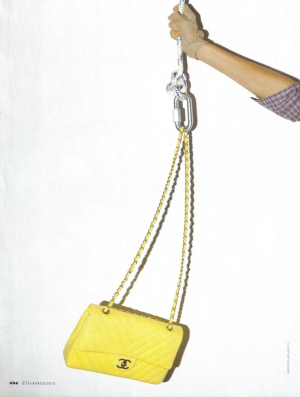 Jessica Hart by Marcelo Krasilcic  Elle Italy, April 2010 yellow chanel flap 2.55 bag