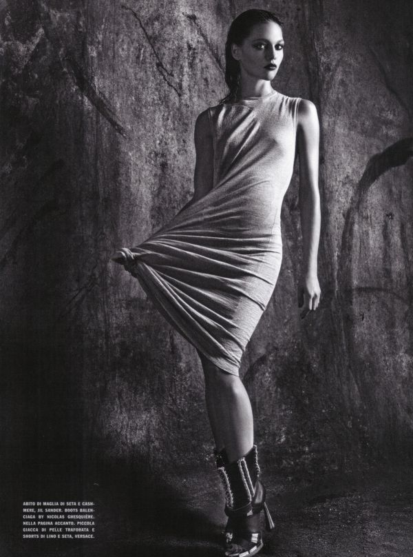Sasha Pivovarova by Mario Sorrenti Vogue Italia April 2010 balenciaga boots