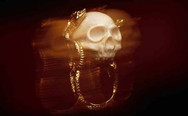 "Delfina Delettrez  ""My World"" Jewelry Collection snake & skull ring photographed by dan tobin smith nowness"