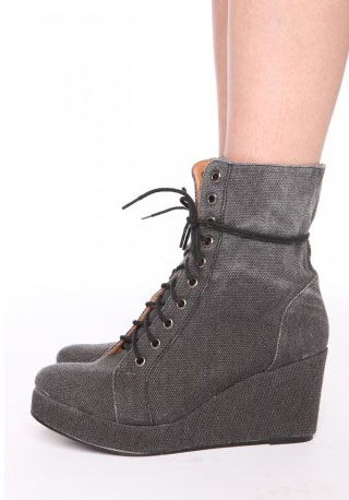 Jeffery Campbell canvas front wedge boots