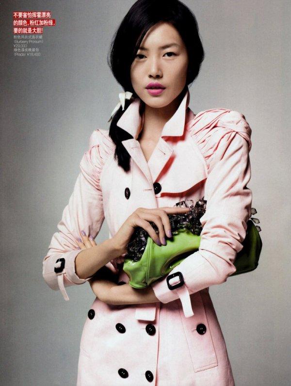 Liu Wen by Li Qi for Vogue China June 2010 burberry ss 2010 pink trench coat
