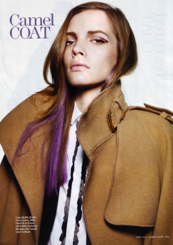 Sophie Srej by Simon Burstall US Marie Claire June 2010 camel coat black eyeliner purple hair beauty 2010 trends fashion
