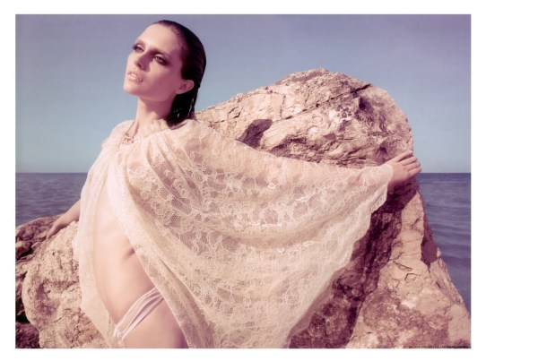 model Tania Onishchenko - D Mode, February 2010 Photographer  Jonathan Segade, fashion editorial, vintage chanel lace dress