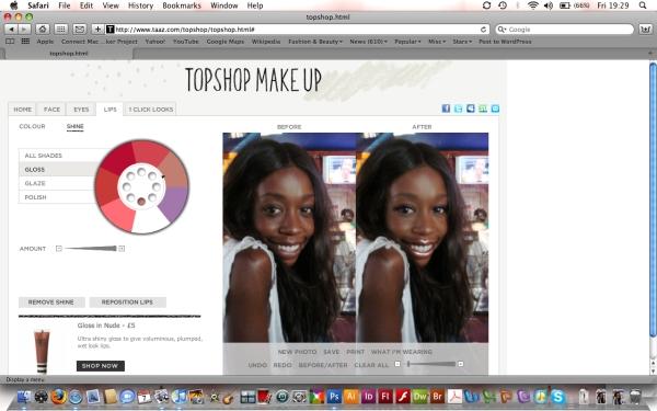 Topshop Make Up Virtual Makeover Hey Crazy erica samba-ngoie fashion beauty lifestyle  blogg