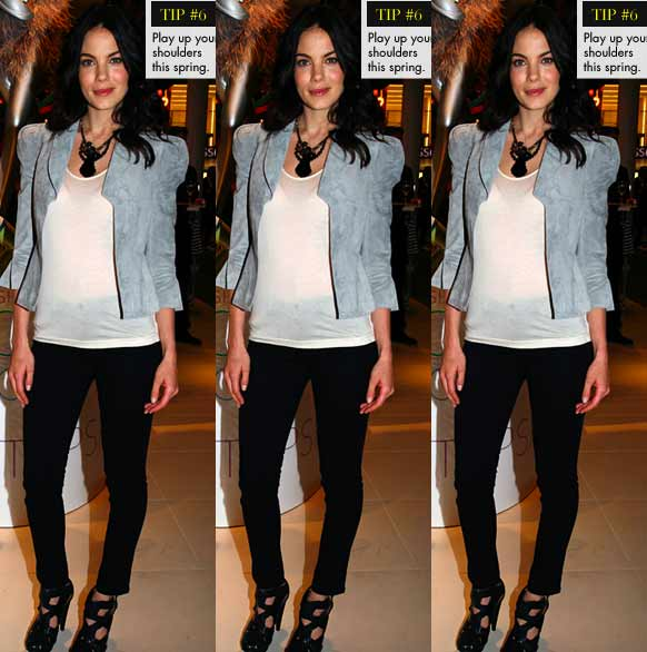Michelle Monaghan in Barbara Hulanicki for Topshop grey suede jacket fashion trends strong shoulders