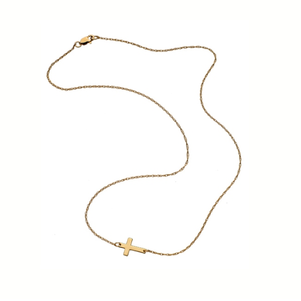 Jennifer Zeuner Mini Horizontal Cross Necklace in Gold Vermeil