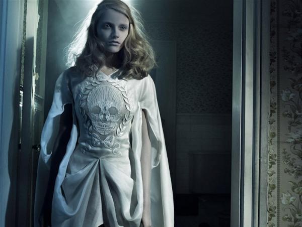 Anna Maria Jagodzinska by Craig McDean fashion editorial skull dress hey crazy