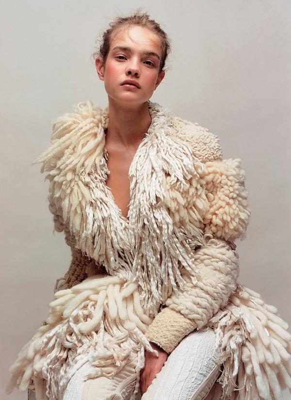 fashion model Natalia V, Jean-Baptiste Mondino, Numero 37 magazine hey crazy fashion photographer wool coat