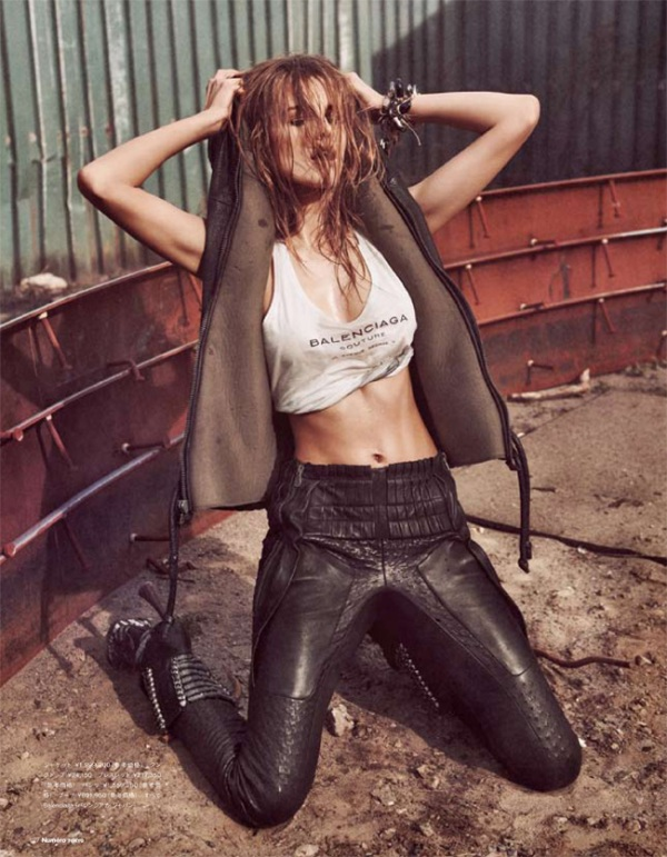 Edita Vilkeviciute model photographer Sebastian Kim  Numéro Tokyo July/August 2010 balenciaga leather pants hooded leather gilet fashion editorial