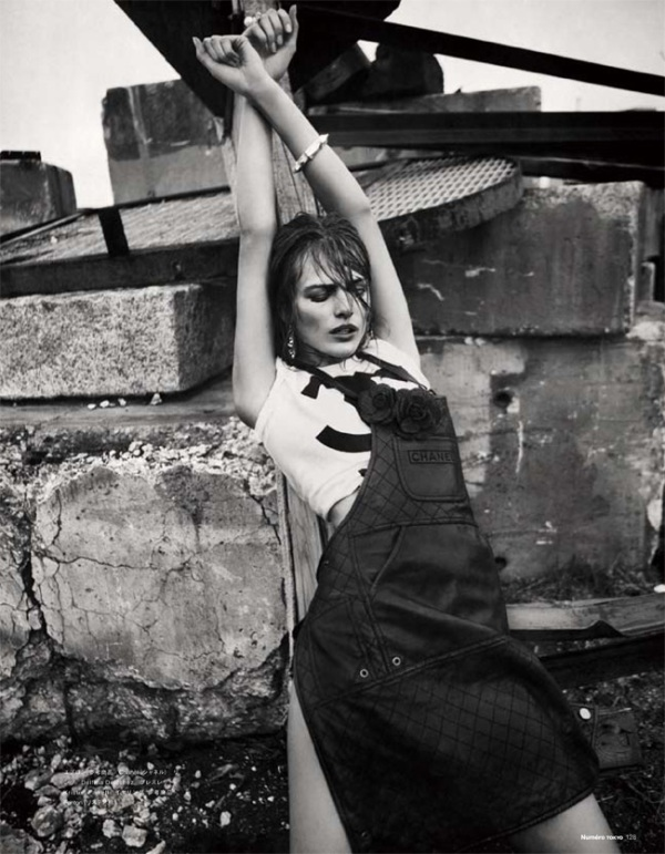 chanel apron fashion editorial Edita Vilkeviciute by Sebastian Kim for Numéro Tokyo July/August 2010