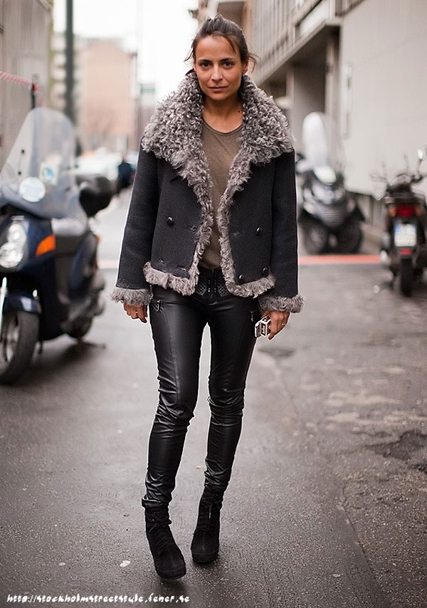 shearling jacket coat street style trends winter 2010 fashionising