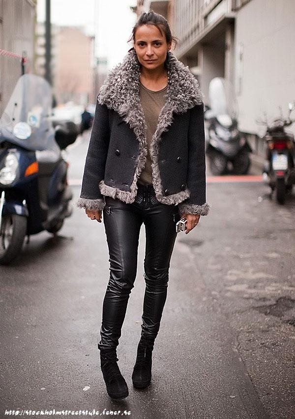 shearling jacket coat street style trends winter 2010 fashionising