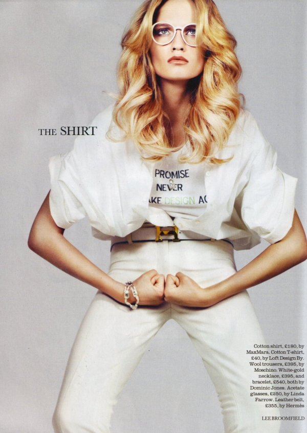 new key fashion pieces elle uk july 2010 trends white shirt lee bromfield