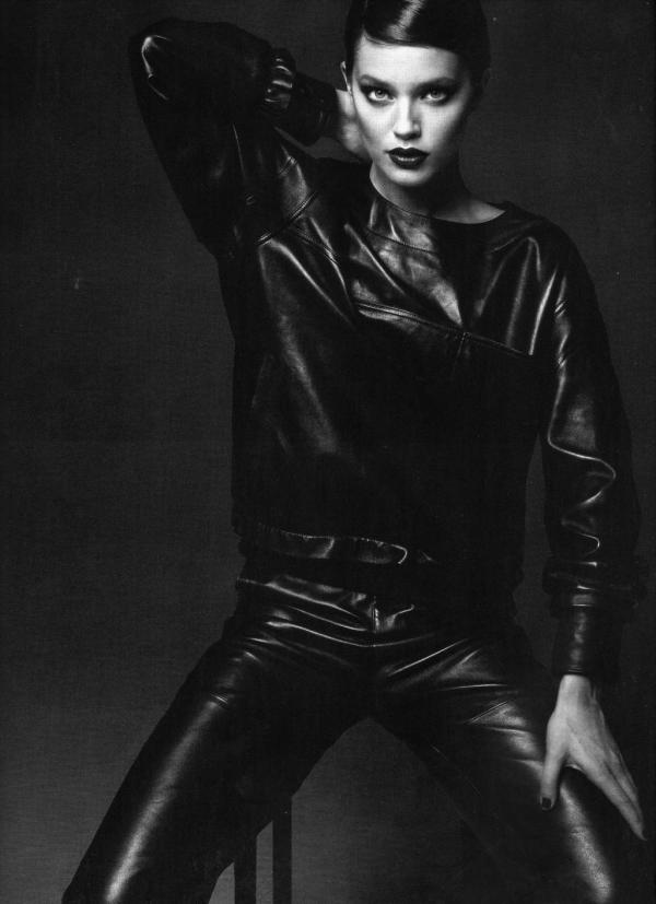 chloe leather sweatshirt, leather pants autumn fall winter 2010 collection numero 115 august Emily Didonato, Anthony Maule