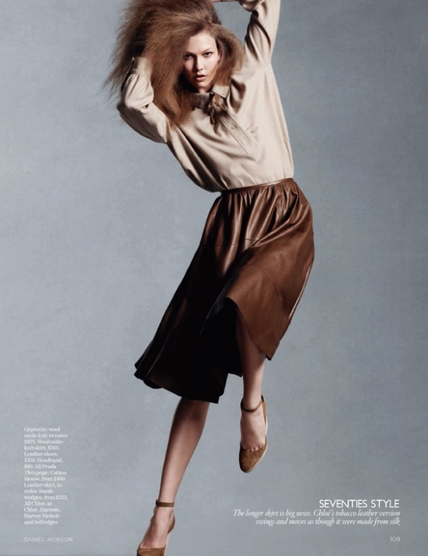 Karlie Kloss by Daniel Jackson for Vogue UK August 2010 chocolate brown leather skirt chloe spring/summer 2010 collection, hey crazy fashion blog