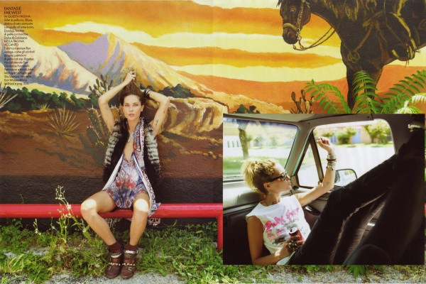 Erin Wasson by David Mushegain Elle Italia August 2010 fashion editorial texas roadtrip