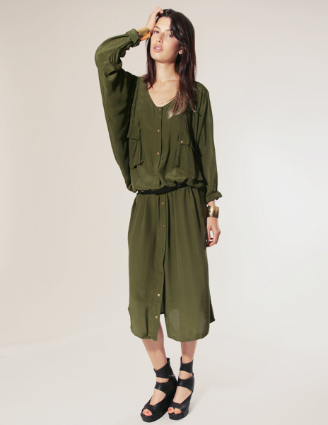 Shakuhachi green olive long dress with front snap buttons and patch cargo pocket pixie market