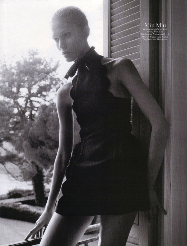 Iselin Steiro by David Sims Vogue Paris August 2010 miu miu fashion collection