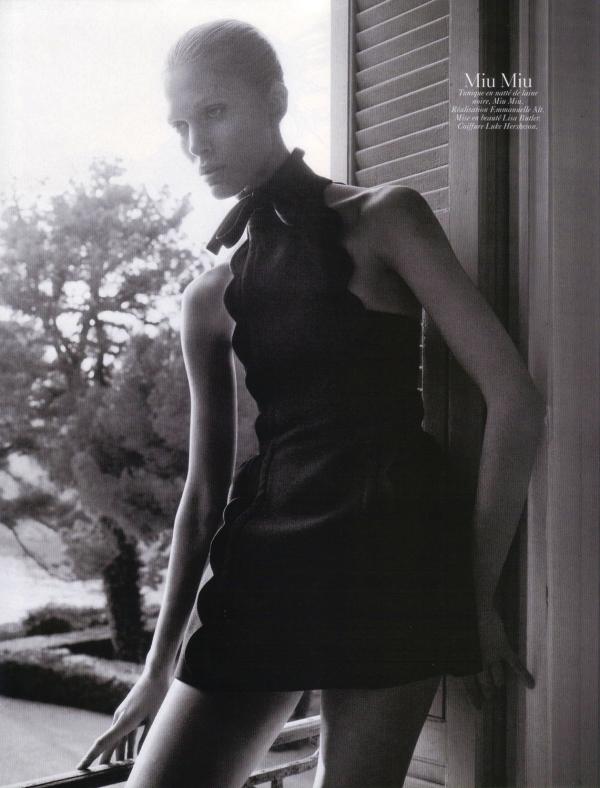 Iselin Steiro by David Sims Vogue Paris August 2010 miu miu fashion collection