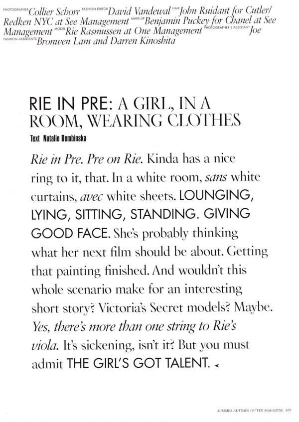 model Rie Rasmussen by Collier Schorr photographer 10 Summer 2010 fashion editorial