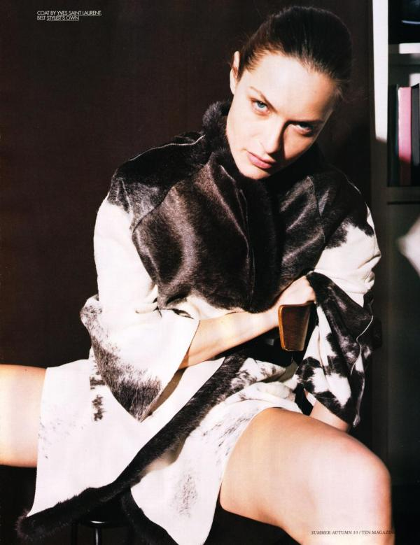 model Rie Rasmussen by Collier Schorr photographer 10 magazine Summer 2010 hey crazy fashion blog Yves Saint Laurent coat