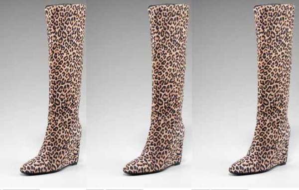 Sergio Rossi Leopard print suede boots
