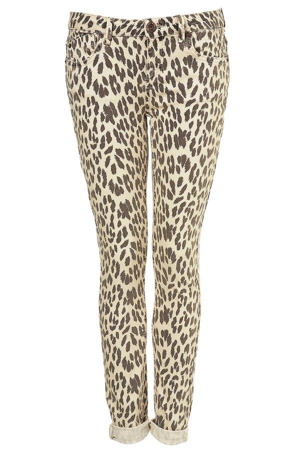 Topshop Leopard Printed Skinny Jeans