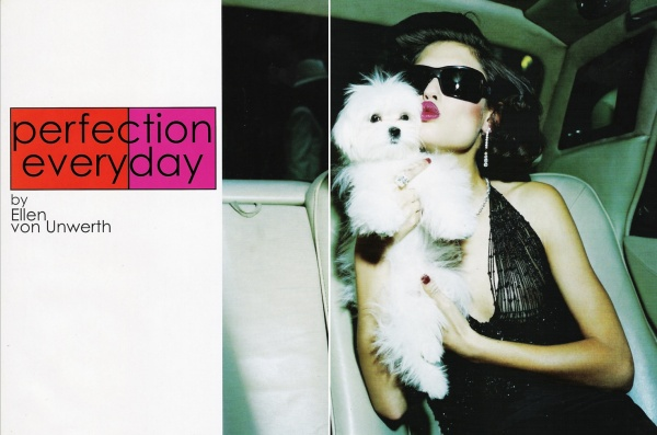 model Bianca Balti by photographer Ellen Von Unwerth vogue italia fashion editorial, toy dogs
