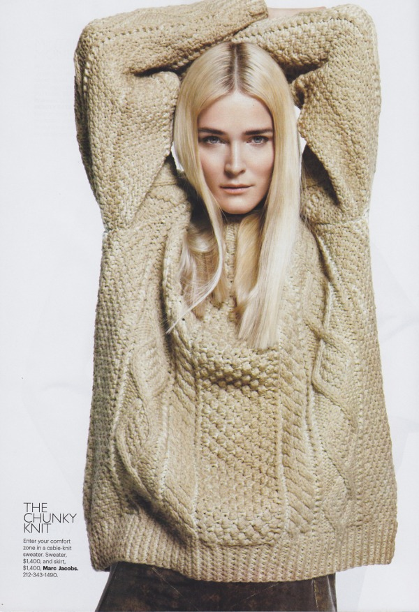 Carmen Kass by Daniel Jackson US Harper's Bazaar September 2010, chunky knits, marc jacobs sweater, hey crazy fashion blog,