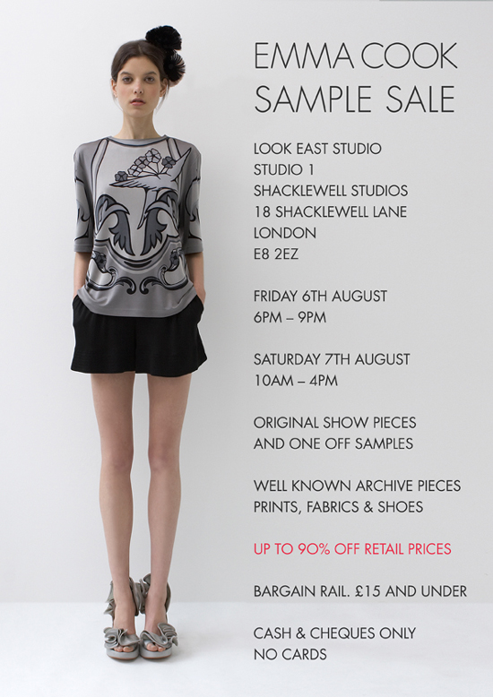 Emma Cook Sample Sale on Friday 6 August 6pm-8pm - Saturday 7 August 10am-4pm  at Shacklewell Studios, London