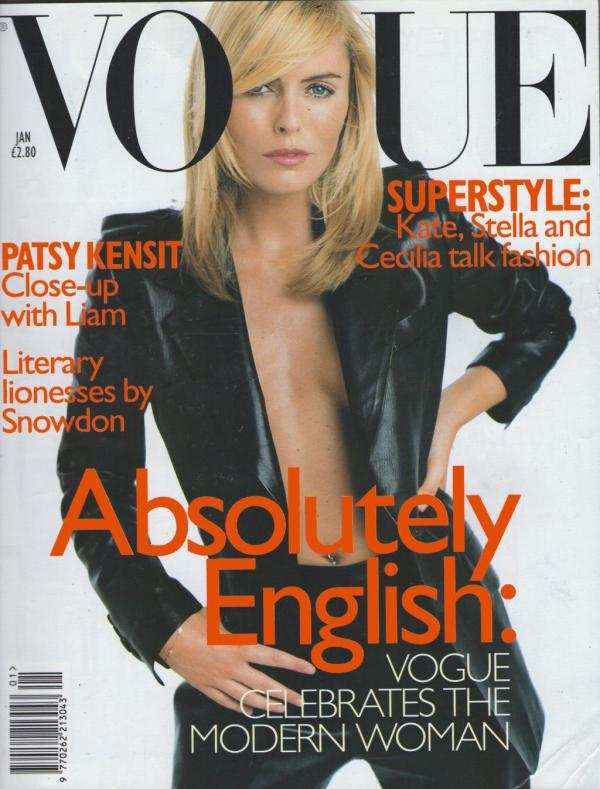 Patsy Kensit by Regan Cameron  Vogue UK January 1997 Gucci collection leather blazer jacket