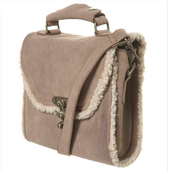 Topshop Sheepskin trim satchel bag winter 2010 fashion trends hey crazy blog