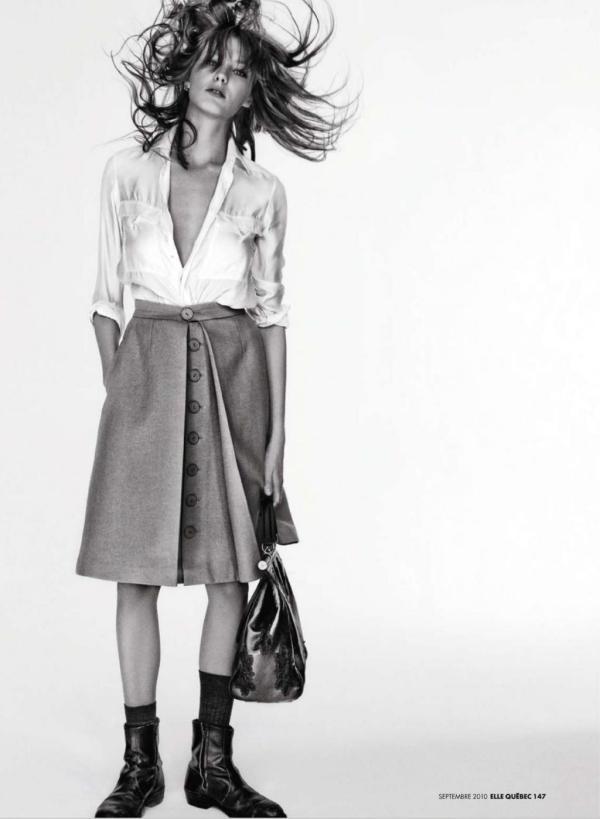 Daria Werbowy by Raphael Mazzucco Elle Québec September 2010 white shirt trend, simple dressing, contemporary fashion, hey crazy blog