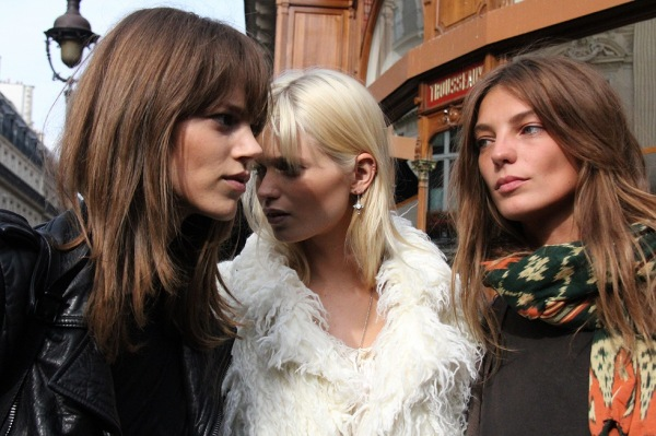 Daria Werbowy, Freja Beha Erichsen and Abbey Lee Kershaw fashion models, after Balmain show,