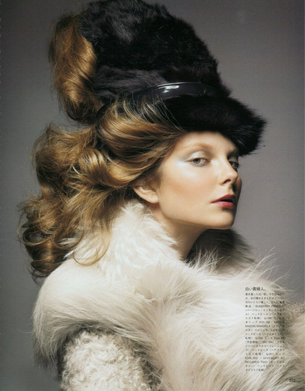 Eniko Mihalik by Raymond Meier Vogue Nippon November 2010, fur hat, 18th century portrait,