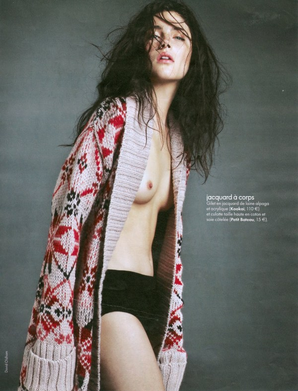 Anna Christine Speckhart by David Oldham Elle France October 2010 Kookai Argyle Shawl Collar Cardigan