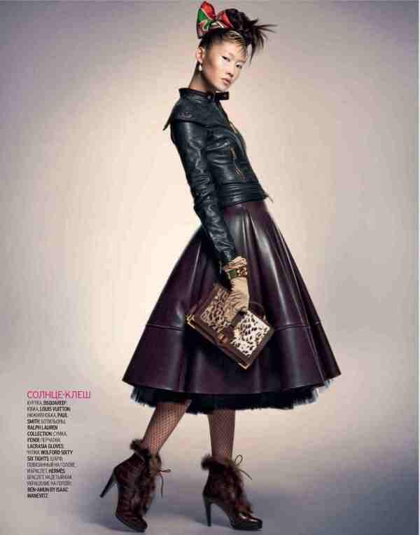 Sonny Zhou by James Macari, full leather skirt fashion trend 2010 marie claire