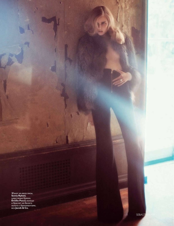 Lisanne De Jong by Sebastian Kim Vogue Russia November 2010, fashion editorial, fur coats