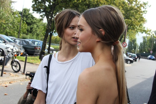 hair trends ponytails, celine spring summer 2011 hair, models after show, fashion show hair,