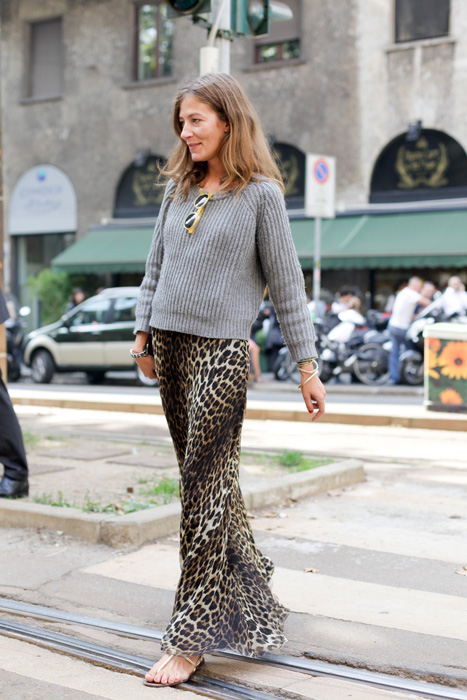 leopard print maxi skirt, milan fashion week, street style