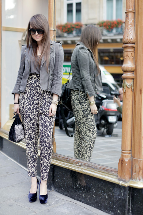 leopard print pants, street style, paris fashion week, trends 2010