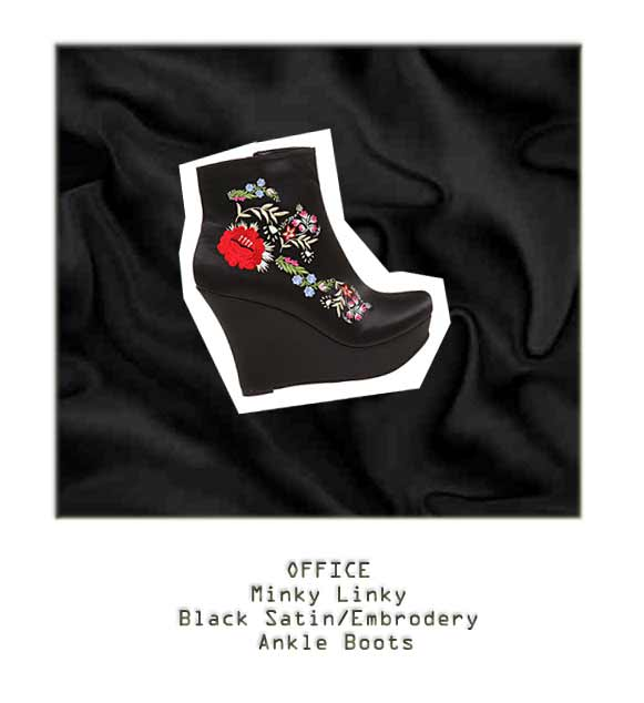 OFFICE MINKY LINKY BLACK STATIN/EMBROIDERY boots, christopher kane autumn winter 2010 collection