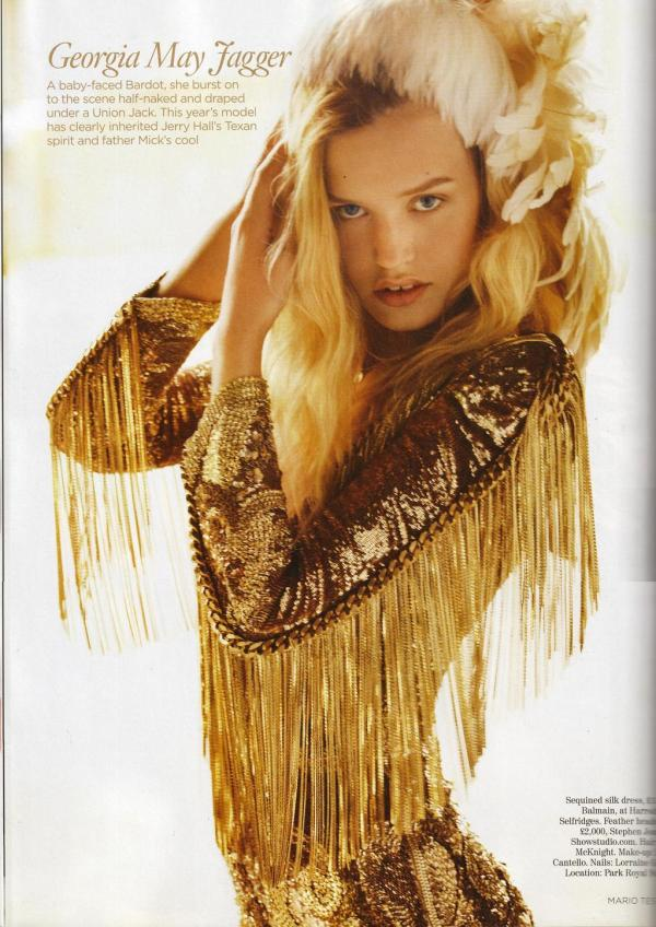 Georgia May Jagger by Mario Testino  UK Vogue December 2010 fashion editorial