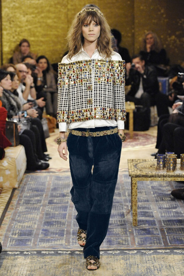 Freja Beha Erichsen for Chanel Pre-Fall 2011 Paris-Byzance boyfriend cord trousers karl largerfeld